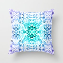 Floral Print - Teal & Purple Throw Pillow