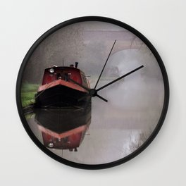 Mystical Barge on the Canal Wall Clock