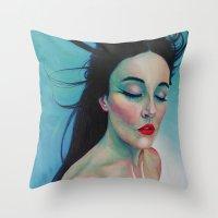 swallow Throw Pillows featuring Swallow by Bridget Baldwin