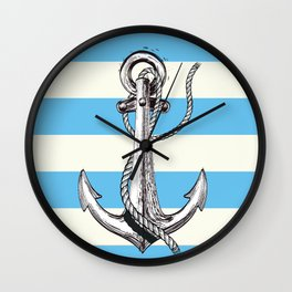 Lets Sail Away Vintage nautical poster Wall Clock