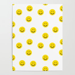 Smiley faces white yellow happy simple smiley pattern smile face kids nursery boys girls decor Poster