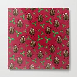 Dancing Pinecones in Maroon Metal Print