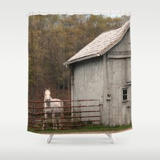 Farm with Barn and Horse Shower Curtain
