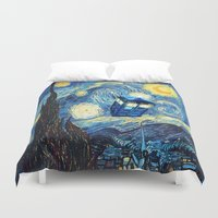 fandom Duvet Covers featuring Soaring Tardis doctor who starry night iPhone 4 4s 5 5c 6, pillow case, mugs and tshirt by Greenlight8
