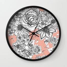 B&W Flowers Coral Wall Clock