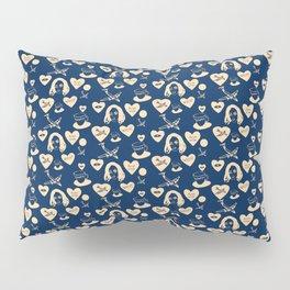 aspri petra white stone heart blue Pillow Sham