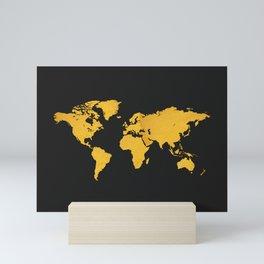 Golden World Map - Black Background Mini Art Print