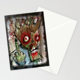 zombie flips the bird Stationery Cards