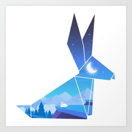 Origami Bunny (Nap on the cliff) Art Print