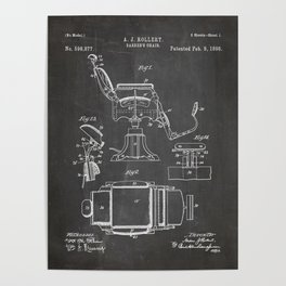 Barbers Chair Patent - Barber Art - Black Chalkboard Poster