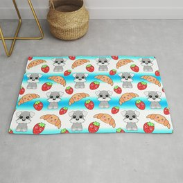 Cute happy funny baby puppy Schnauzers, sweet adorable yummy Kawaii croissants and red ripe summer strawberries cartoon light blue and white pattern design Rug