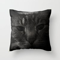 sofa Throw Pillows featuring Sofa Loaf Face BW by Nearlycanadian