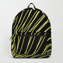Rays of golden light with intersecting waves on black. Backpack