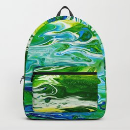 Blue waves and green grass Backpack