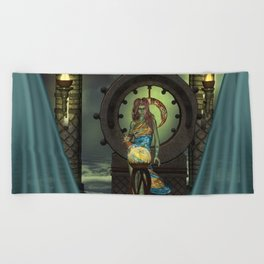 Mystical world, beautiful fairy Beach Towel