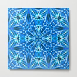 Quilt Tile 3 Ice Blue Metal Print