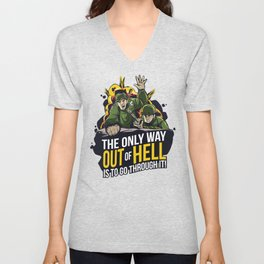 Army Escape: The only way out of hell is to go through it! Unisex V-Neck
