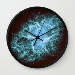 Crab Nebula Freshwater Blue teal Wall Clock