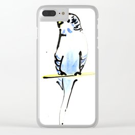 Blue and Yellow Pet Budgie Print Clear iPhone Case