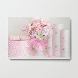 Pink Books and Roses Metal Print