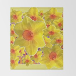 YELLOW-GOLD DAFFODILS FLOWER COLLAGE Throw Blanket