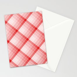 Red Geometric Squares Diagonal Check Tablecloth Stationery Cards