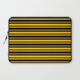 Amber Orange and Black Horizontal Var Size Stripes Laptop Sleeve