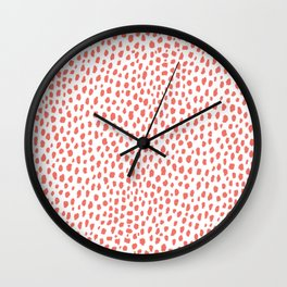 Handmade Polka Dot Paint Brush Pattern (Pantone Living Coral and White) Wall Clock