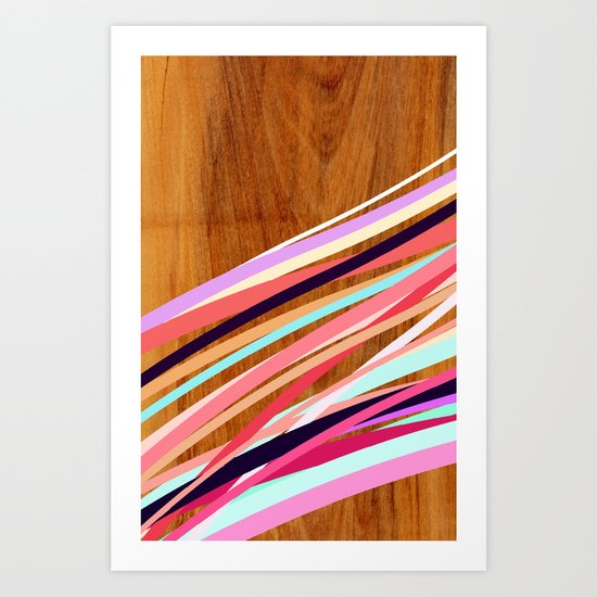 Wooden Waves Coral Art Print