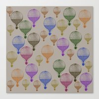 hot air balloons Canvas Prints featuring Colorful Hot Air Balloons by Zen and Chic