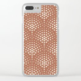 Creamy Off White SW7012 Polka Dot Scallop Fan Pattern on Cavern Clay SW 7701 Clear iPhone Case