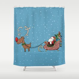 Rudolph and Santa Shower Curtain