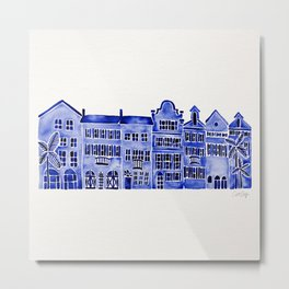 Row of Houses – Navy Palette Metal Print