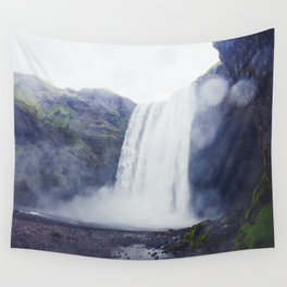 Standing at a Waterfall in Iceland Wall Tapestry