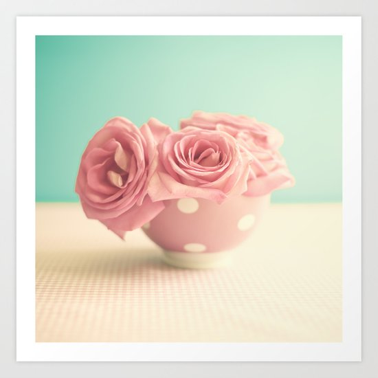 Soft Pink Roses on Polka Dots Bowls Art Print