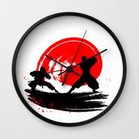 ninja Wall Clocks featuring Ninja by Emir Simsek