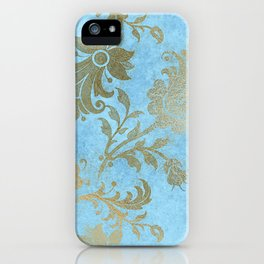 Elegant Blue and Gold Floral iPhone Case