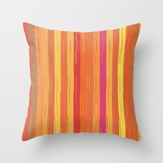 Orange and Yellow Stripes and Lines Abstract Throw Pillow