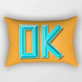 """""""OK"""" 3D Letters (Orange, Light Teal Blue) Rectangular Pillow"""