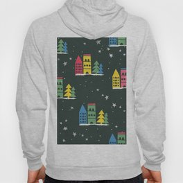 Cute Christmas Houses trees & Stars Seamless Pattern Hoody