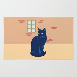 Black cat on the street Rug