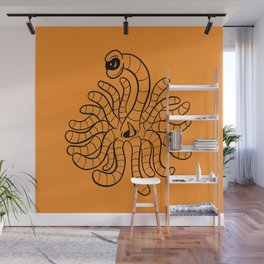 Tentacle One Eye Grouch Monster in Orange Wall Mural