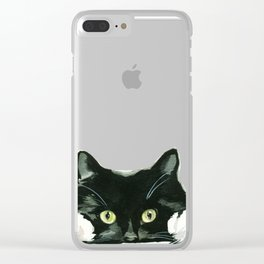 Black Cat looking out in Frame Clear iPhone Case