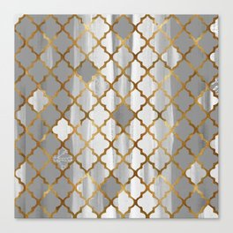 Moroccan Tile Pattern In Grey And Gold Canvas Print