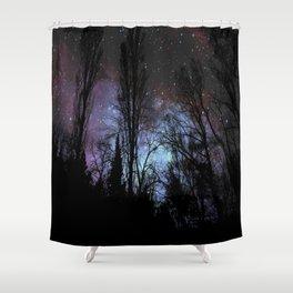 Black Trees Dark Space Shower Curtain
