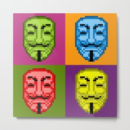 Pop Art Pixel Fawkes Metal Print