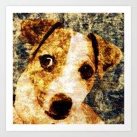 「sit」Jack Russell Terrier Art Print