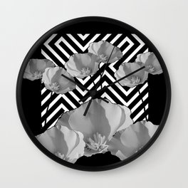 CONTEMPORARY BLACK & WHITE PATTERN FLORAL Wall Clock
