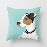 jack russell Throw Pillows featuring Dog - Jack Russell by bluebutton studio