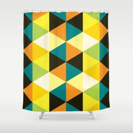 Geometric Pattern 60 (teal orange yellow triangles) Shower Curtain